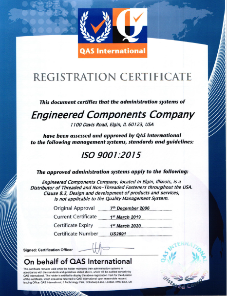 Engineered Components Company ISO Certification